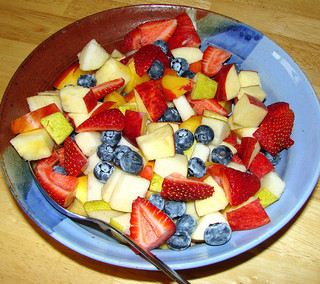 Breakfast fruit in colorful bowl